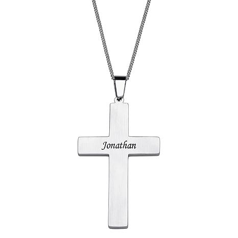 Stainless steel carbon fiber engraved name large cross pendant stainless steel carbon fiber engraved name large cross pendant 7980303 hsn aloadofball Image collections