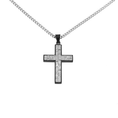 "Stainless Steel Textured Cross Pendant With 24"" Chain"