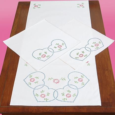 Stamped Dresser Scarf and Doilies Perle Edge