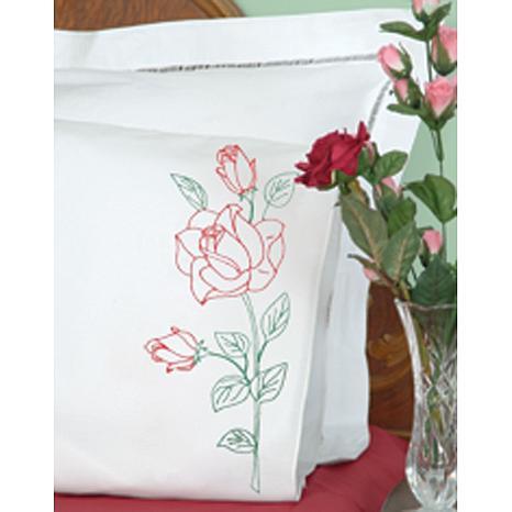 Stamped Pillowcases w-Perle Edge 2pk - Long Stem Rose