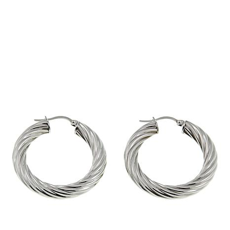"Stately Steel 15/16"" Twisted Hoop Earrings"