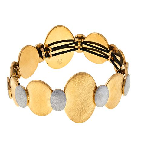 "Stately Steel 2-Tone Brushed Oval 8"" Stretch Bracelet"