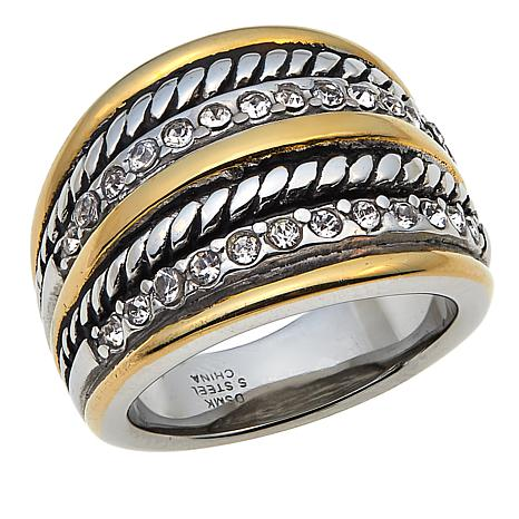 Stately Steel 2-Tone Stainless Steel Crystal Band Ring