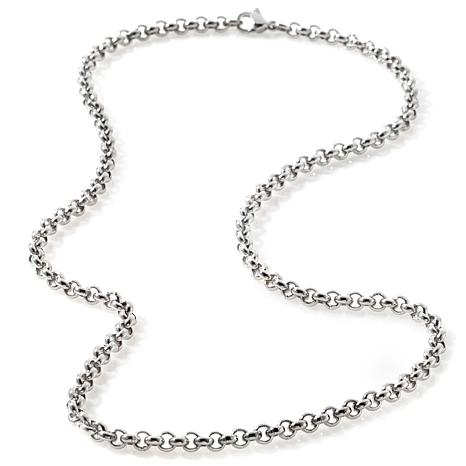 """Stately Steel 4mm 18"""" Half-Round Rolo-Link Chain"""