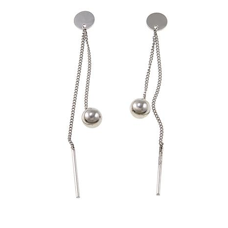 Stately Steel Ball and Bar Linear-Drop Earrings