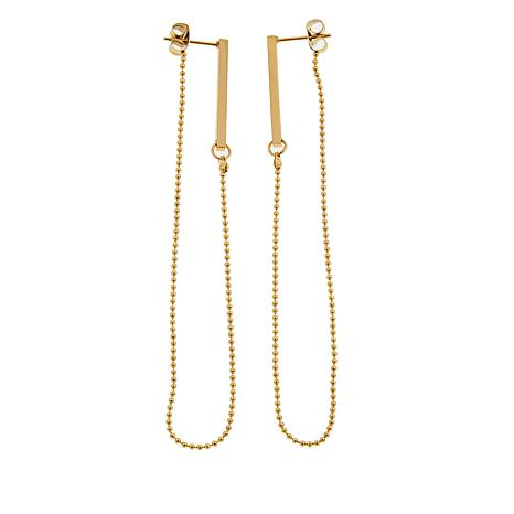 Stately Steel Bar and Chain Front-to-Back Drop Earrings
