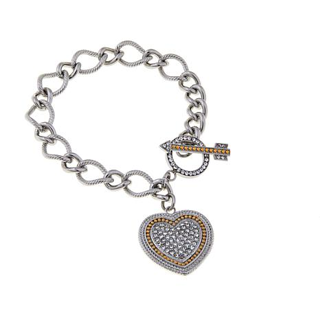 Stately Steel Bracelet with Crystal 2-Tone Heart Charm
