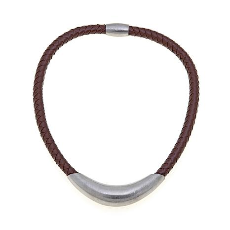 "Stately Steel Braided Leather 17"" Collar Necklace"