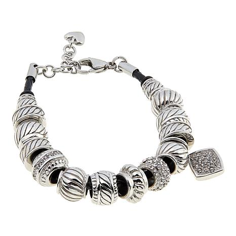 """Stately Steel Braided Leather and Crystal Beaded 6-3/4"""" Charm Bracelet"""