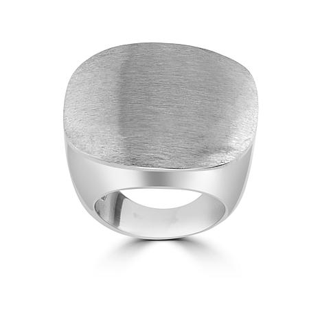 Stately Steel  Brushed Square Ring