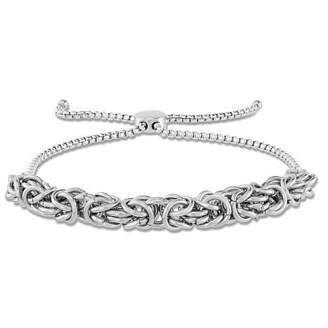 Stately Steel Byzantine Adjustable Bracelet