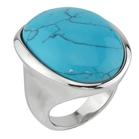 Stately Steel Domed Oval Blue Howlite Ring