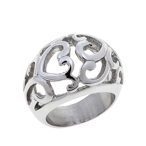 Stately Steel Double Heart Cut Out Ring 8375662 Hsn