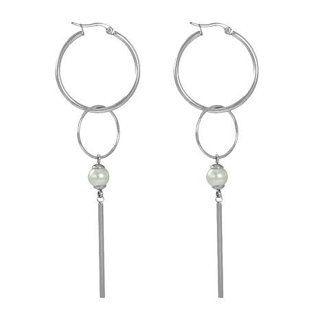 Stately Steel Double Hoop and Bead Drop Earrings