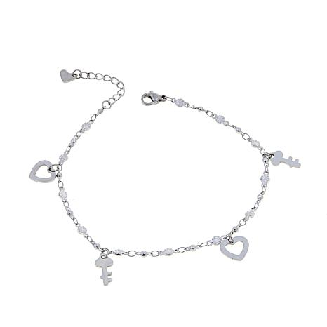 Stately Steel Fancy-Link Heart and Key Drop Anklet
