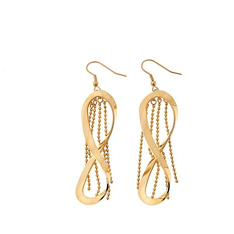Stately Steel Figure 8 and Fringe Drop Earrings