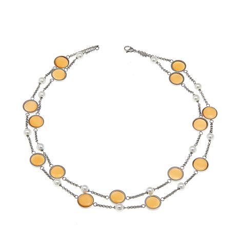 "Stately Steel Glass Bead and Disc 18"" Rolo Necklace"