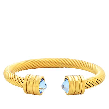 Stately Steel Goldtone Stainless Steel Blue Crystal Cable Cuff