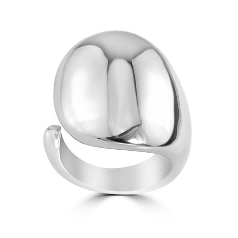 Stately Steel High Polish Open Dome Ring