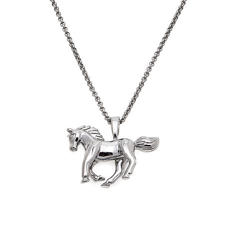 "Stately Steel Horse Pendant with 20"" Rolo Chain"