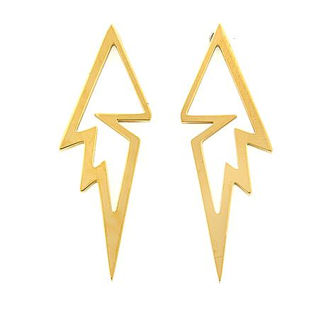 Stately Steel Lightning Bolt Earrings