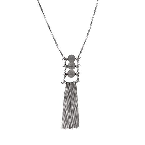 "Stately Steel Long Tassel Drop 30"" Cable-Link Chain Necklace"