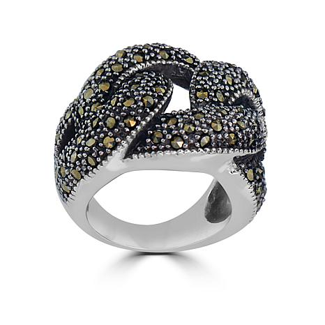 Stately Steel Marcasite Knot Ring