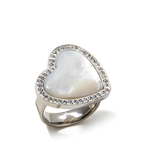 Stately Steel Mother-of-Pearl Crystal Heart Ring