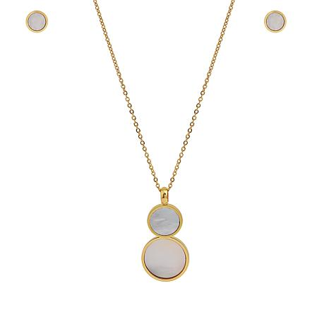 Stately Steel Mother-of-Pearl Pendant Necklace and Earrings Set