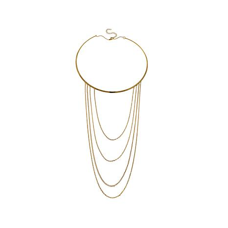 Stately Steel Neckwire with Graduated 4-Chain Drape
