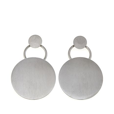 Stately Steel Open-Circle Disc-Drop Earrings