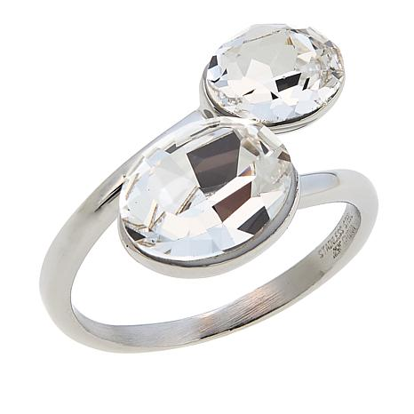 Stately Steel Oval Crystal Stainless Steel Bypass Ring