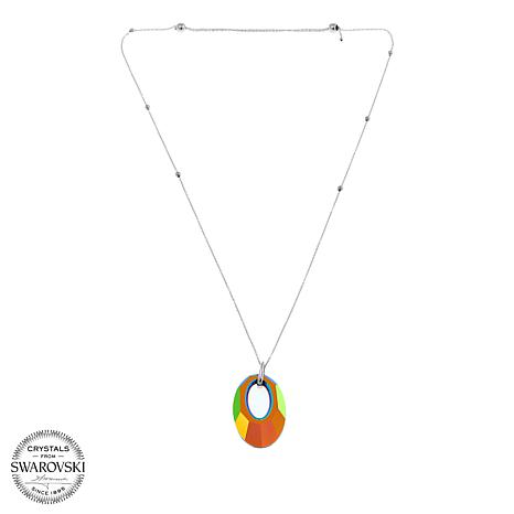 "Stately Steel Oval Multicolor Crystal Pendant Adjustable 28"" Necklace"