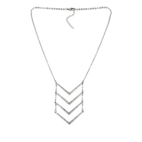 Stately Steel Pavé Crystal Chevron Drop Necklace