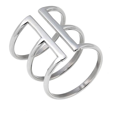 Stately Steel Polished Triple Band Negative Space Ring