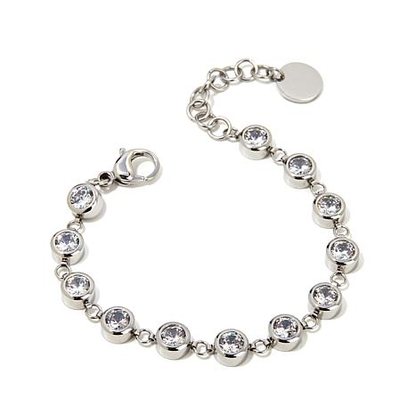 "Stately Steel Round Crystal Station 7"" Line Bracelet"