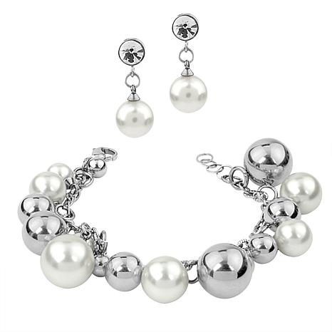 Stately Steel Simulated Pearl and Crystal Bracelet and Drop Earrings