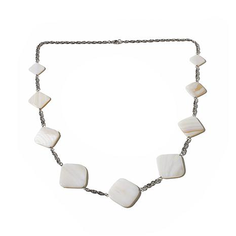 Stately Steel Square Station Mother-of-Pearl Necklace