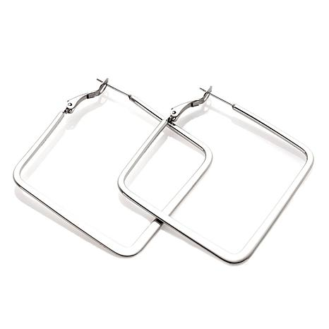 Stately Steel Stainless Steel Flat Square Hoop Earrings