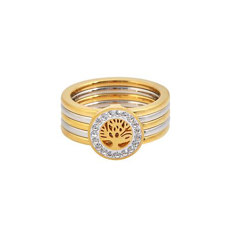 Stately Steel Tree of Life Cubic Zirconia Multi-Row Ring