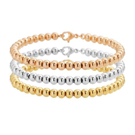 Stately Steel Tri-Color Ball 3-piece Bangle Set