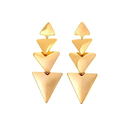 Stately Steel Triangle Drop Earrings