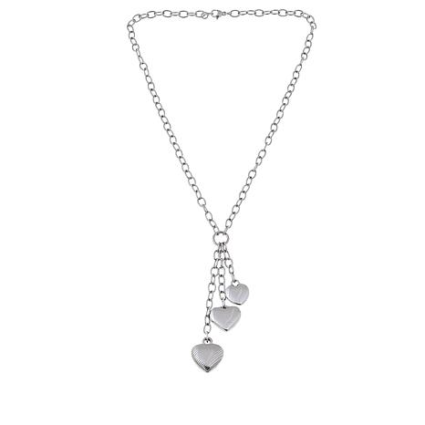 Stately Steel Triple Heart Drop Cable- Link Necklace