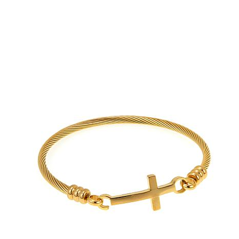 Stately Steel Twisted Rope Cross-Design Bangle Bracelet