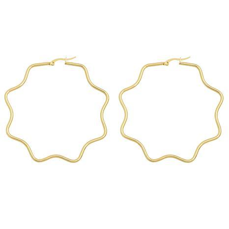 """Stately Steel Wavy Hectogram Hoop Earrings - 2-3/8"""""""