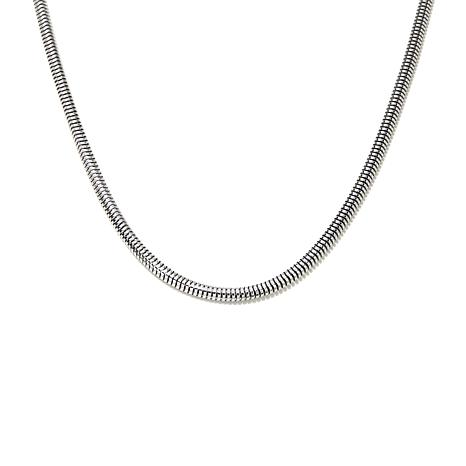 "Stately Steel Wide-Flex Snake Chain 24"" Necklace"