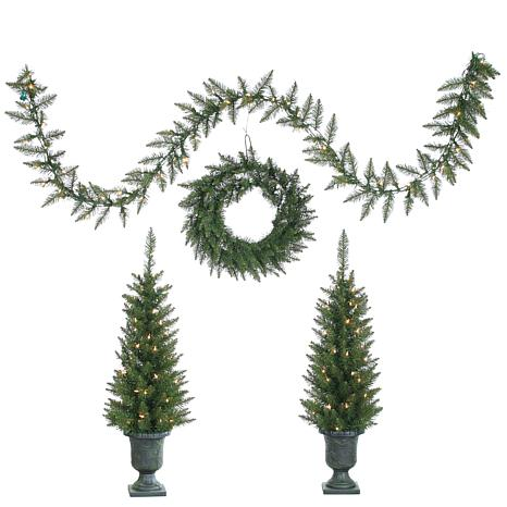 """Sterling 24"""" Wreath,9' Garland and (2) 3-1/2' Trees"""