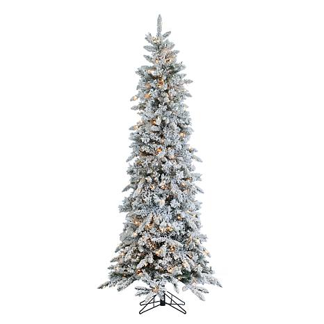 Sterling Narrow Flocked Pencil Pine Lighted Christmas Tree ...