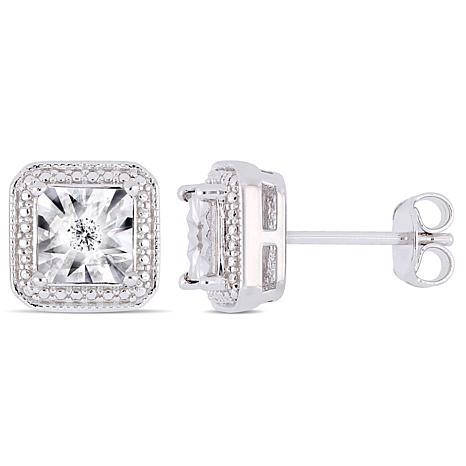 Sterling Silver 0.04ctw Diamond Square Stud Earrings
