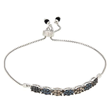 Sterling Silver 1.02ctw Multi-Color Diamond Adjustable Bracelet